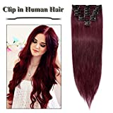 Benehair Burgundy Clip in Human Hair Extensions 18 inch Wine Red 100% Long Straight Remy Hair 8pcs Full Head Clip On Standard Weft for Women Party Daily Highlighted Wear (18'=70g #99J)
