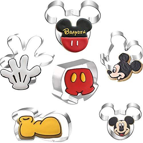 Set di 6 formine per biscotti a forma di testa di Topolino, Topolino, Topolino, orecchie di Topolino e Palma di Topolino, in acciaio inox, per bambini