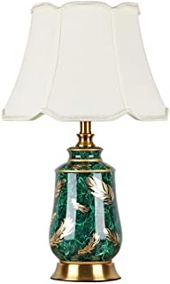 Lámparas de mesa de cerámica verde moderna para dormitorio sala de estar tela verde pantalla de escritorio lámpara de ...