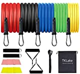 TKLake Exercise Resistance Bands Set,Home Workouts Set with 5 Tubes, 2 Foam Handles, Door Anchor, Ankle Straps, Carrying Pouch for Yoga, CrossFit, Pilates, Physio Home Gym Equipment (5PCS)