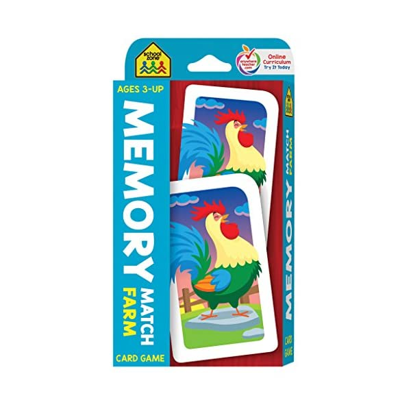 School Zone – Memory Match Farm Card Game – Ages 3+, Preschool to Kindergarten, Animals, Early Reading, Counting, Matching, Vocabulary, and More (School Zone Game Card Series)