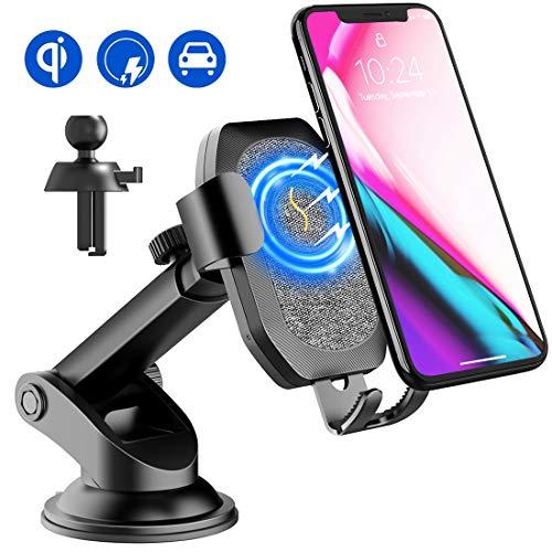 Qi Handy Halterung für Auto, Wireless Charger KFZ Induktions Ladegerät 10 W /7,5 W / 5 W Schnellladung für iPhone Max XS iPhone X iPhone 8/8 Plus, Galaxy S9/S9 plus/S8 plus/S7/Note 8