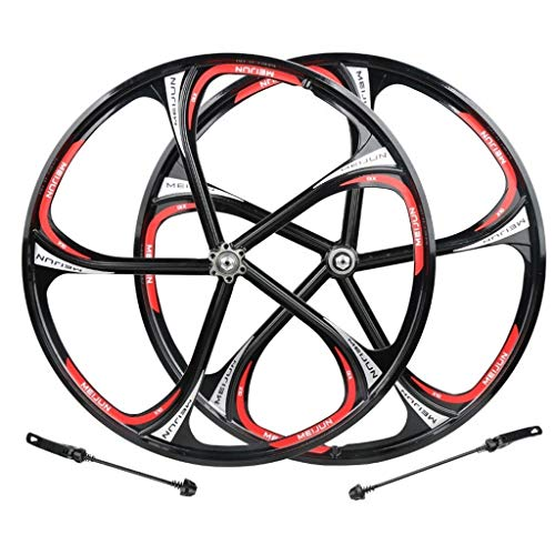 CHICTI Cycling Wheels 26, Double Wall MTB Rim Quick Release V-Brake Hybrid/Mountain Bike Hole Disc 7 8 9 10 Speed Outdoor