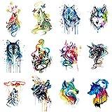 WYUEN Lote de 12 pegatinas de tatuaje temporal de lobo para mujeres, hombres, moda corporal, adultos, impermeable, tatuaje falso de mano 9,8 x 6 cm W12-12