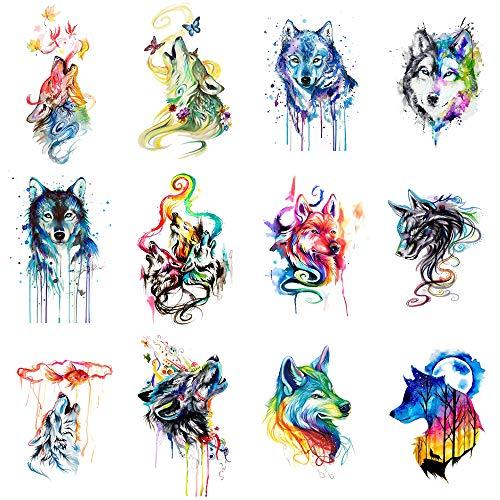 WYUEN 12 PCS/lot Wolf Temporary Tattoo Sticker for Women Men Fashion Body Art Adults Waterproof Hand Fake Tatoo 9.8X6cm FW12-01 (Wolf3)