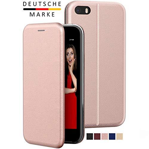iPhone SE 2016 / 5s / 5 Flip-Case Hülle [Deluxe Leder Klapphülle] Handyhülle mit einer 360 Grad Fullbody Rundumschutz-Funktion in Roségold Ultra Slim kompatibel iPhone 5s / 5 / SE 1. Generation