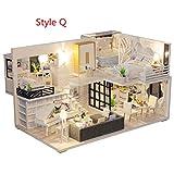 Minsong DIY 3D Puppenhaus, Holz Miniatur Möbel Kit Mini Puppenhaus Spielset, Beste Weihnachten...