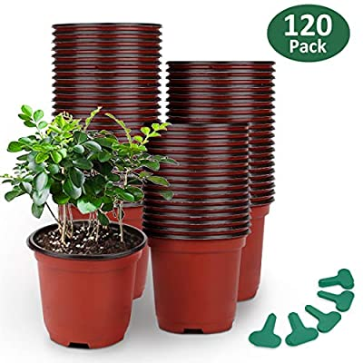GROWNEER 120 Packs Plastic Plant Nursery Pots with 50 Pcs Plant Labels, Seed Starting Pot Flower Plant Container for Succulents, Seedlings, Cuttings, Transplanting