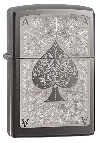 Zippo Men's Windproof Metal Long Lasting Best Fluid Refillable Perfect for Cigarettes Cigars Candles Pocket Lighter Fire Starter Ace Design, Black Ice, regular