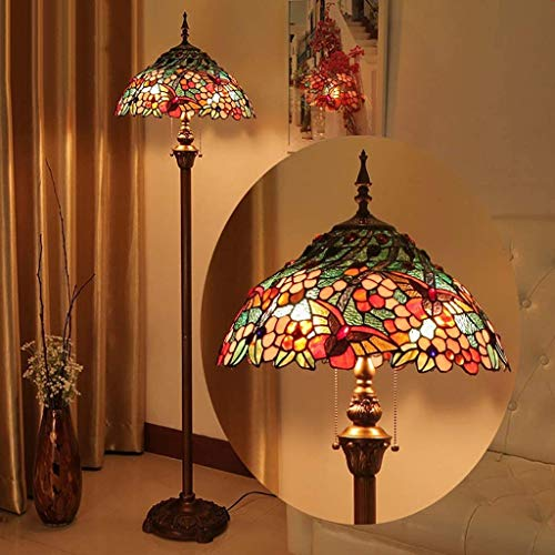 LAMP-XUE 16 inch Tiffany-stijl vloerlamp, 63 inch groot gekleurd glas schaduw vloerlamp, 2-licht-antieke basis voor slaapkamer woonkamer leeslamp