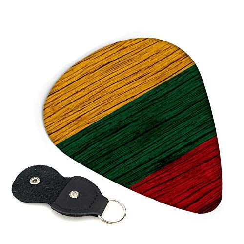 Lituania textura de madera bandera lituana púas de guitarra, paquete de 6, adecuado para guitarra, ukelele, bajo, guitarra eléctrica