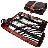 AFUNTA Estuche para lápices, Organizador para 72 lápices, Enrollable de Lona Lavable lápiz Bolsa de Oficina Escuela de Arte etc. Lápices no incluidos