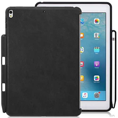 KHOMO iPad Air 3 10.5 (2019) / iPad Pro 10.5 (2017) Rückseite Abdeckung Hülle Hülle Schutzhülle Kompatibel mit Smart Cover, Tastatur & Apple Pencil 1 Halter - Leder Schwarz