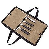 QEES Bolsa para cuchillos de chef con 2 agarres de mano y 4 ranuras para cuchillos de chef con doble cremallera, bolsa para herramientas de cocina GJB440, color caqui, tamaño 18' x 11'