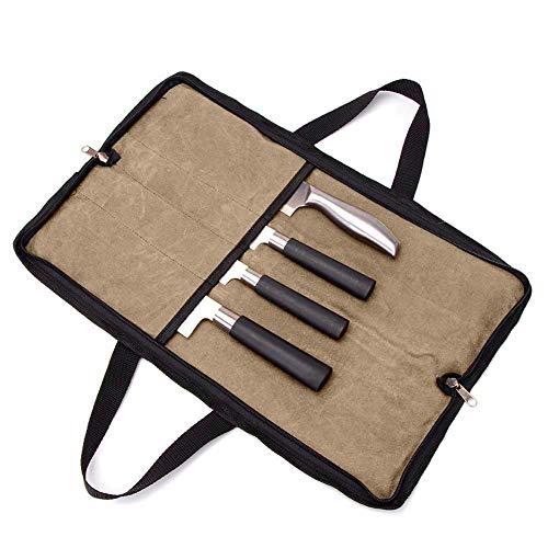 QEES Kochmesser-Tasche Messertasche mit 2 Handgriffen, 4 Fächer, Reißverschluss, Küchenwerkzeugtasche HYGJB440 (Kaki)