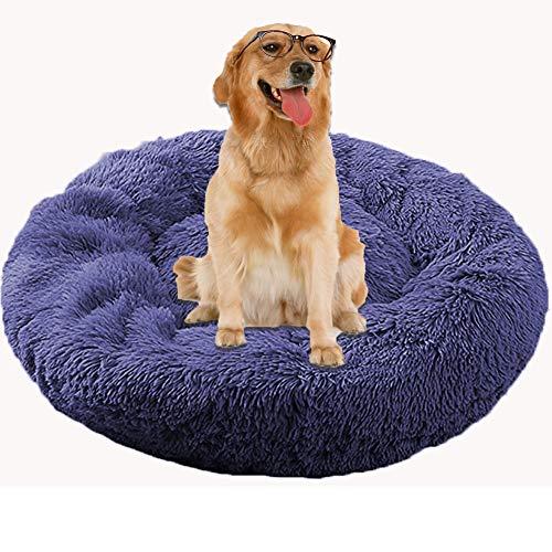 HANHAN Cojín ortopédico extragrande para perro mayor, cojín redondo para sofá de dona, antiansiedad, mimbre, cueva de felpa, lavable, extragrande, tamaño mediano, cómodo, mullido, gris oscuro