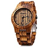 Bewell W086B Mens Wooden Watch Analog...