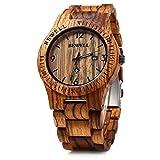 Bewell W086B Mens Wooden Watch Analog Quartz Lightweight Handmade Wood Wrist Watch (Zebra Wood)