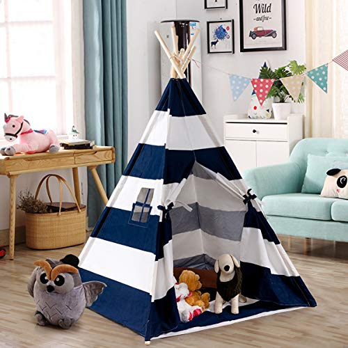 Costzon Kid Teepee Tent, Classic Indian Tent, 5' Cotton Canvas Baby Children Playhut with Carry Bag, Walls, Door, Window and Floor, Play Tent for Toddlers Boys and Girls (Blue & White Stripe)