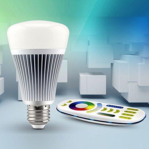 LIGHTEU®, 1x 8W E27 Milight Miboxer sans fil E27 8W 2.4G RF télécommande RGBCCT LED ampoules avec une télécommande à 4 zones