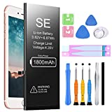 Battery for iPhone SE, Ponoser 1800mAh Ultra High Capacity Replacement 0 Cycle Battery Compatible with iPhone SE, with Instruction & Professional Replacement Tool Kits-Model:A1662, A1723, A1724