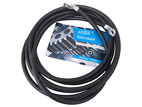 eXODA Cable de batería de 300cm 10 mm² Cobre Cable de alimentación con Ojales M6 Negro 12 V Cable para automóvil también para su Cargador