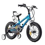RoyalBaby Bicicletas Infantiles niña niño Freestyle BMX Ruedas auxiliares Bicicleta para niños 14 Pulgadas Azul