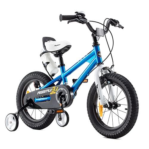 RoyalBaby Kinderfahrrad Jungen Mädchen Freestyle BMX Fahrrad Stützräder Laufrad Kinder Fahrrad 14 Zoll Blau