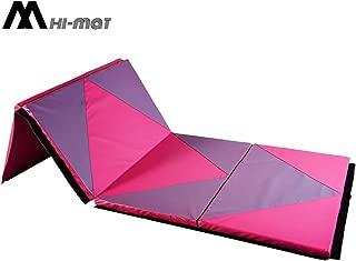 HI-MAT Gymnastics Mat, Folding Exercise Mat Thick Aerobics Mats PU Leather Tumbling Mats for Stretching Fitness with Carrying Handles