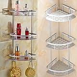 Estantería de esquina de pared de ducha con ganchos de aluminio cromado para guardar champú, jabón, gel de ducha (3 niveles)