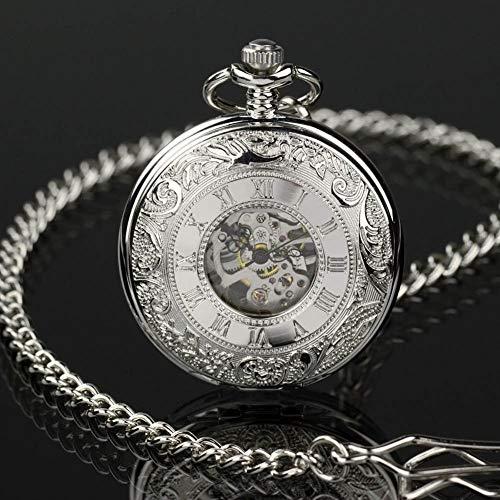 Classic Engraved Skeleton Mechanical Windup Vintage Silver Man Mens Pocket Watch