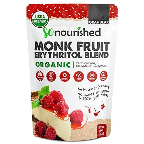 Organic Monk Fruit Sweetener with Erythritol Granular - 1:1 Sugar Substitute, Keto - 0 Calorie, 0 Net Carb, Non-GMO (Organic, 1 Pound)