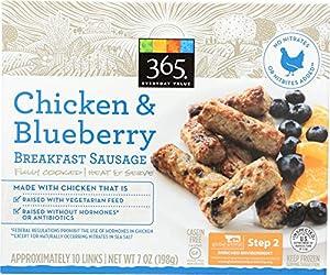 365 Everyday Value, Chicken & Blueberry Breakfast Sausage, 10 ct, (Frozen)