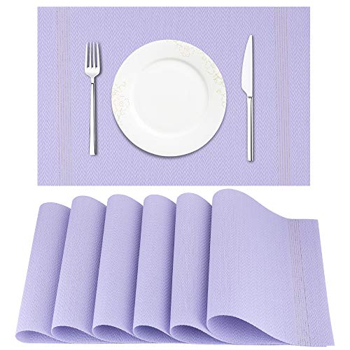 Artand Placemat, Crossweave Woven Vinyl Non-Slip Insulation Placemat Washable Table Mats Set of 6(Light Purple)