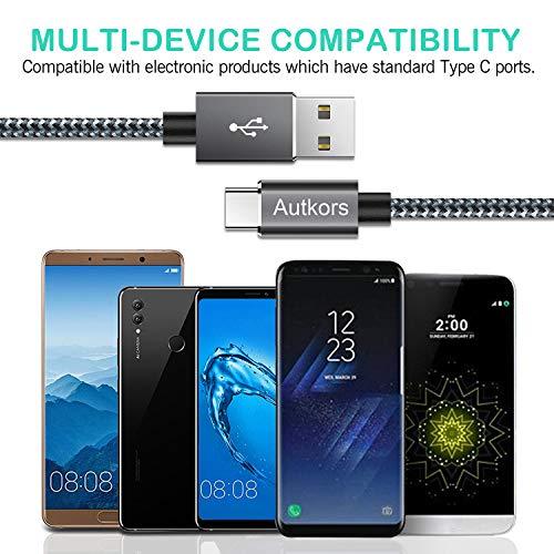 Autkors USB C Kabel, [2 Stück 2M] Nylon USB C Ladekabel Schnelles Aufladen Datenkabel für Typ-C Geräte Inklusive Galaxy, MacBook, LG und mehr