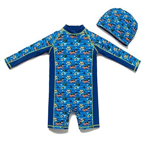 Bonverano(TM Infant Boy's UPF 50+ Sun Protection L/S One Piece Zip Sun Suit (12-18 Months, Blue)