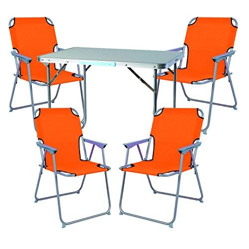 Mojawo Ensemble de Meubles de Camping en Aluminium Camping L70 x B50 x H59 cm 1 x Table de Camping avec poignée + 4 chaises Orange Plastique Oxford