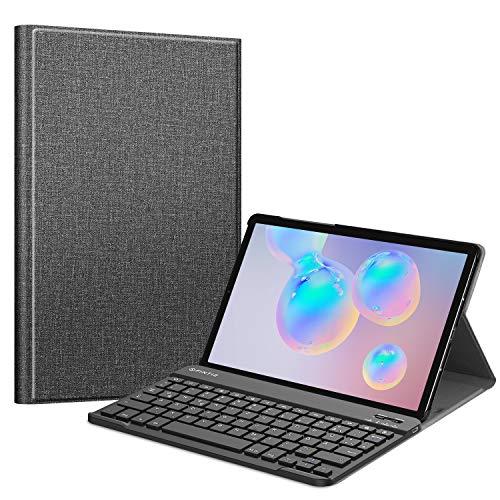 Fintie Tastatur Hülle für Samsung Galaxy Tab S6 (Kompatibel mit S Pen kabelloser Ladefunktion) - Ultradünn Keyboard Case mit magnetisch Abnehmbarer drahtloser Deutscher Tastatur, Jeansoptik dunkelgrau