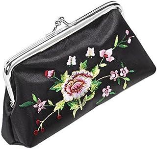 Espejo de bolso del lápiz Labial Caja del sostenedor 3 Monedero eDealMax Bordado Floral en 1