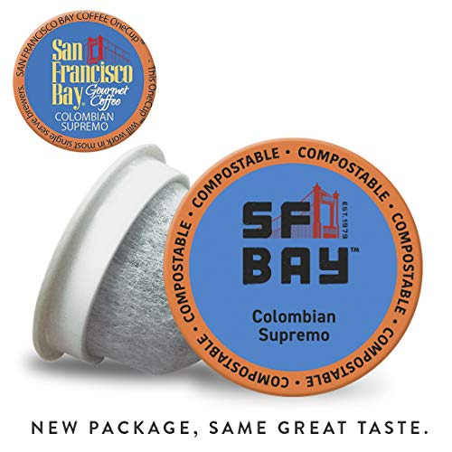 SF Bay Coffee Colombian Supremo 80 Ct Medium Roast Compostable Coffee Pods, K Cup Compatible including Keurig 2.0 (Packaging May Vary)