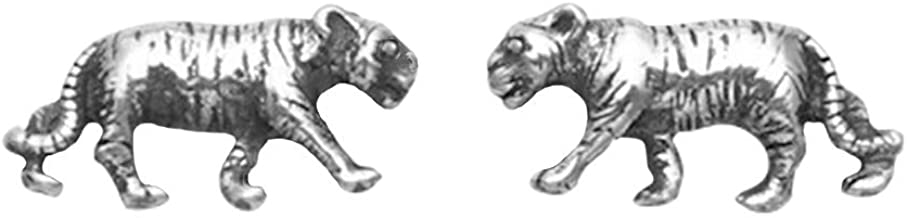 Small Sterling Silver Tiger Stud Earrings