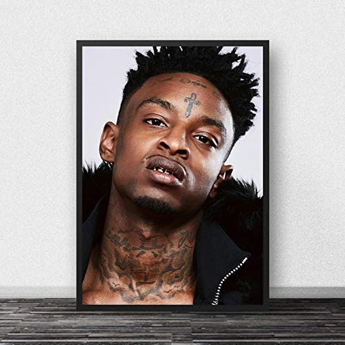xiangpiaopiao 21 Savage Poster Rap Music Star Hip Hop Rapper Lienzo Pintura Carteles E Impresiones Arte Cuadros De Pared Sala De Estar Decoración del Hogar 50X70Cm (6R-5806)