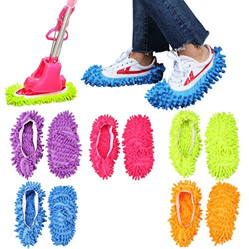 Coolty 5 Paare Mop Schuhe, Multifunktion Bodenreinigung Staubwischen Pantoffeln für Haus Boden Staub Schmutz Haare Reinigung