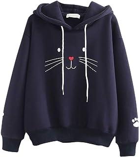 Sceoyche Fashion Women Top Cat Printing Shirt Long Sleeve Sweatshirt Casual Loose Blouse