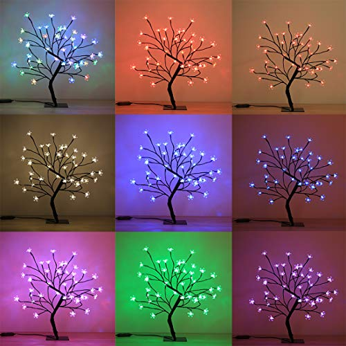 Cherry Blossom Bonsai Tree, 40 LED Lights, with 24V UL Listed Adapter and Metal Base, Warm White Lights, Perfect for Night Lights, RGB Color Changing Lights for Thousands of Color Options