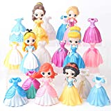 6 Unids / Set Anime Figura Juguetes Vestido Puede Cambiar Frozen Elsa Anna Rapunzel Muñecas Vestido ...