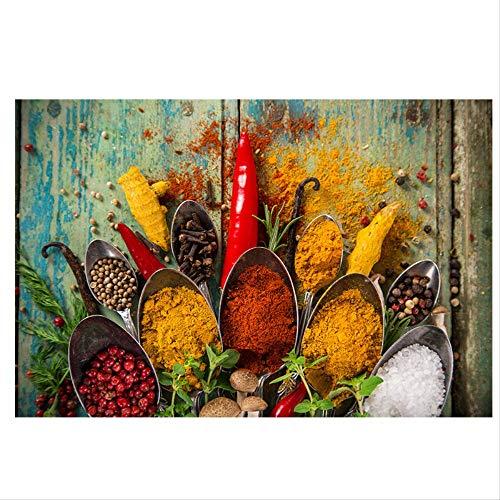 Granos Especias Cuchara Lienzo Pintura Cuadros Carteles e impresiones escandinavos Arte de la pared Cocina Comida Imagen Sala de estar Decoración del hogar 30x45 cm sin marco
