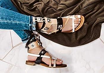 Cape Robbin Womens Open Toe Strappy Ankle Cuff Colorblock Hardware Gladiator Flat Sandals,Black,7