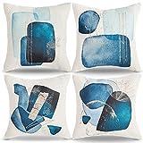AkcentPillo Lino Fundas De Almohada Abstracto Funda Cojin Azul Fundas Cojines 45x45 Impresión Fundas De Cojines Morandi Fundas para Cojines De Sofas