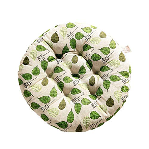 Car backrest Pads, with Laces, Round, Soft, for Stool, Tatami seat, 2 Pieces, Monstera Round, 40x40x8cm